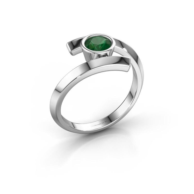 Ring Mara 585 witgoud smaragd 5 mm