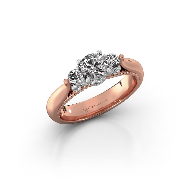 Verlovingsring Tiffani 585 rosé goud zirkonia 5 mm