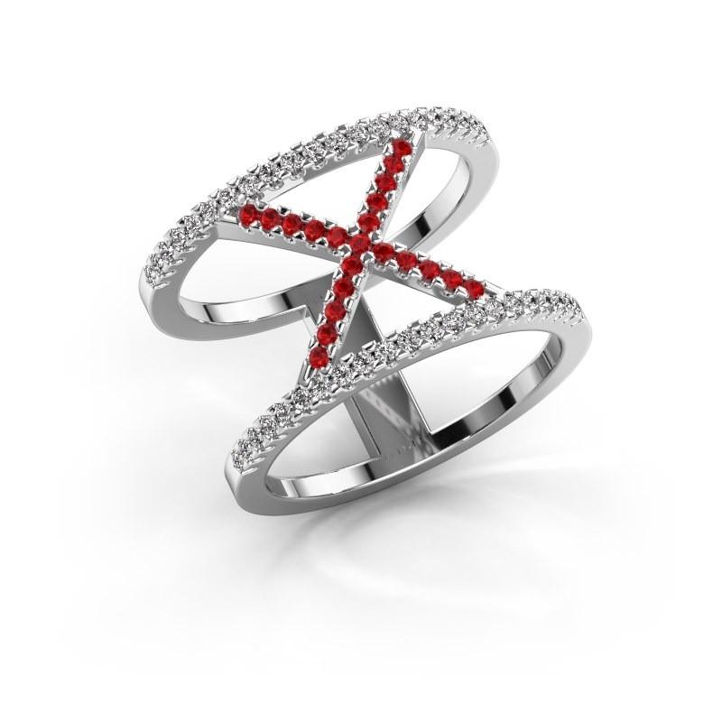 Ring Sharri 2 925 zilver robijn 1.1 mm