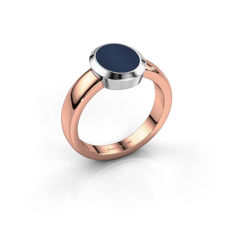 Pinkring Oscar 1 585 rosé goud donker blauw lagensteen 10x8 mm