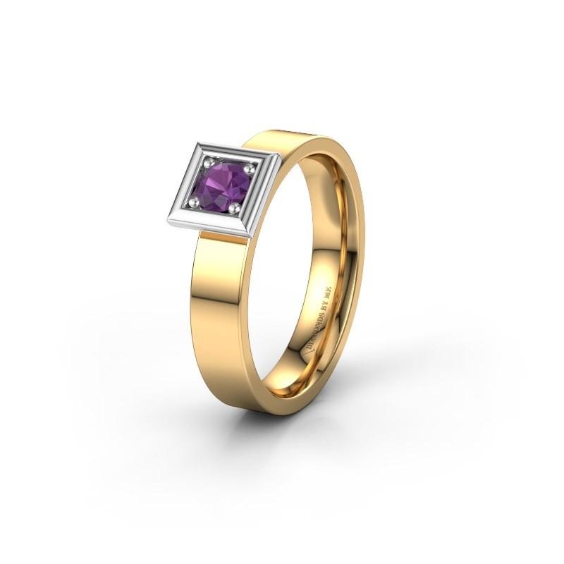 Trouwring WH2112L14A 585 goud amethist ±4x1.7 mm