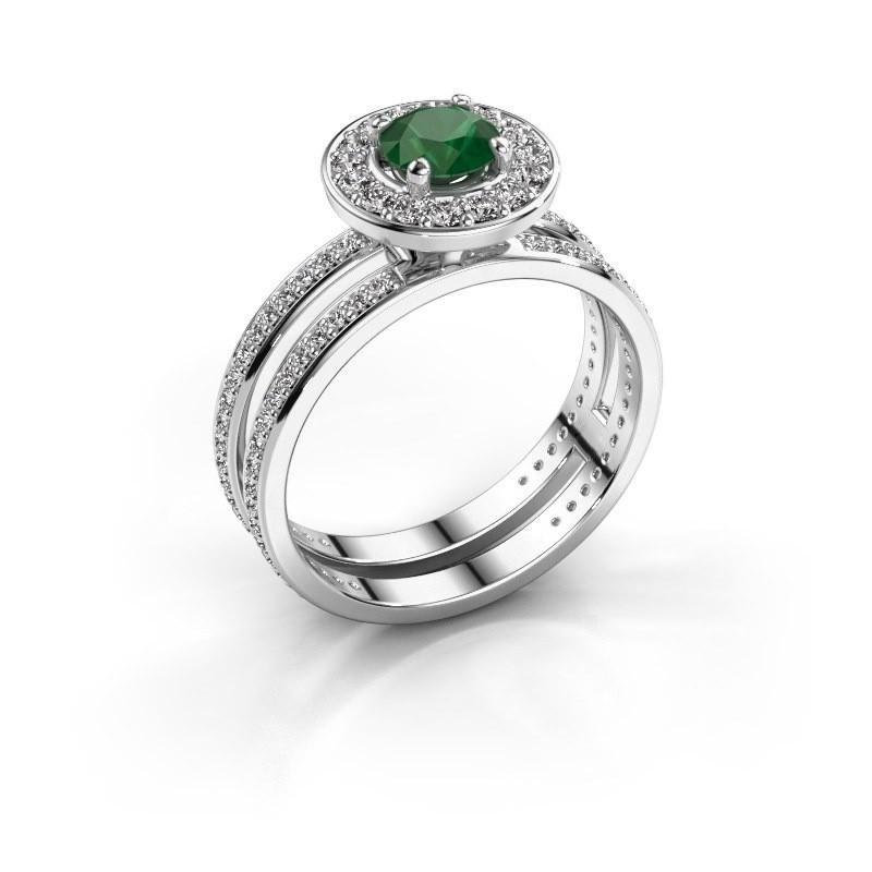 Verlobungsring Shila 925 Silber Smaragd 5 mm