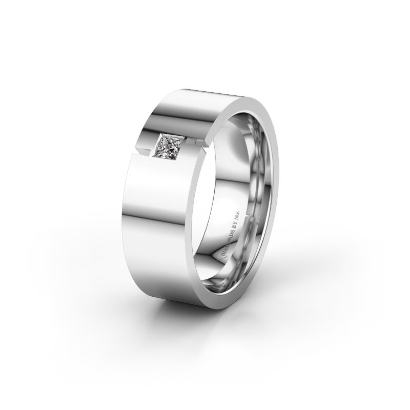 Trouwring WH2042P 925 zilver lab-grown diamant ±7x2.4 mm