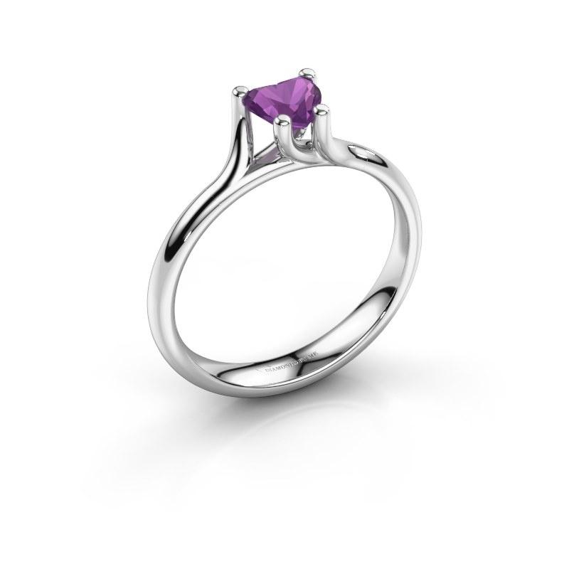 Engagement ring Dewi Heart 925 silver amethyst 5 mm