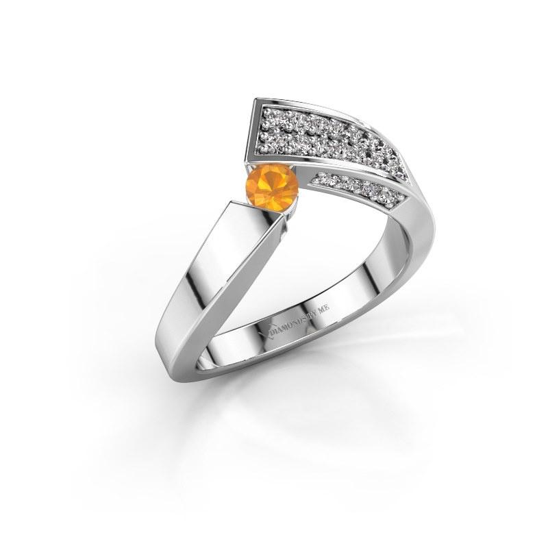 Ring Evie 585 white gold citrin 3.4 mm