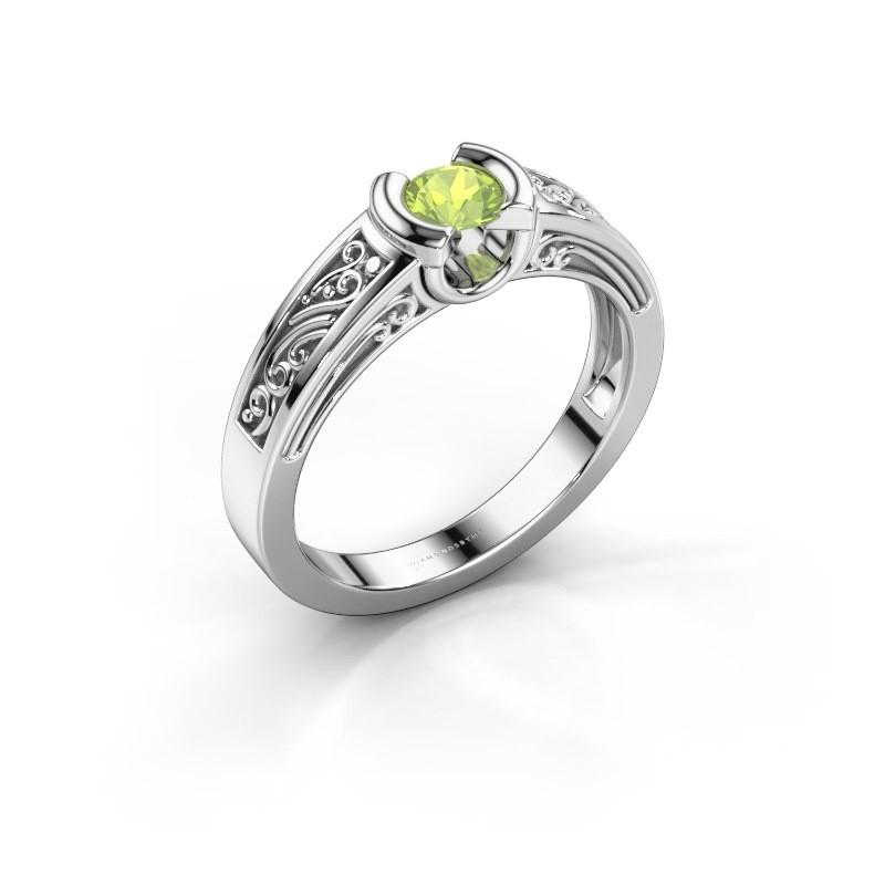 Ring Elena 950 platina peridoot 4 mm