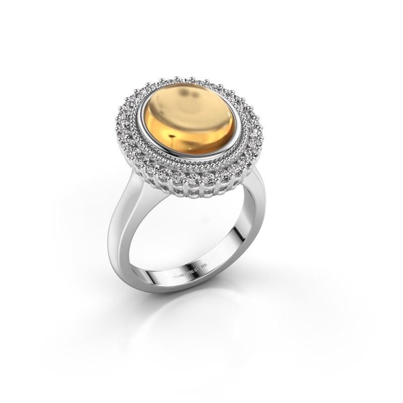 Ring Mila 585 witgoud citrien 12x10 mm