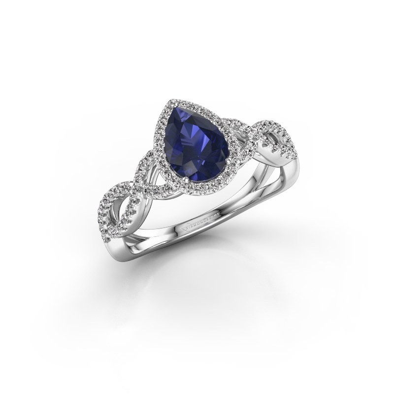 Engagement ring Dionne pear 925 silver sapphire 7x5 mm