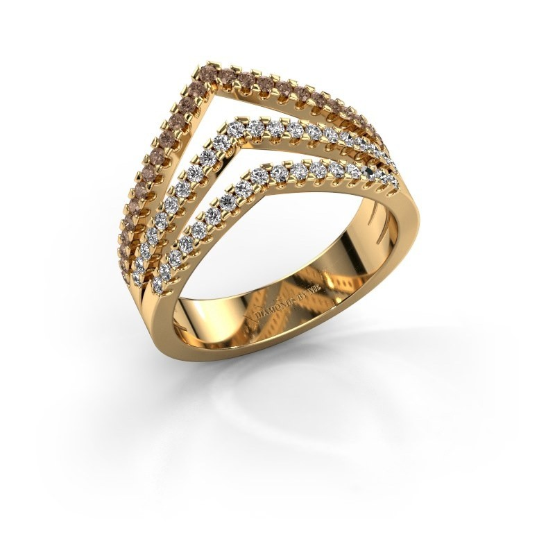 Ring Kendra 375 gold brown diamond 0.488 crt