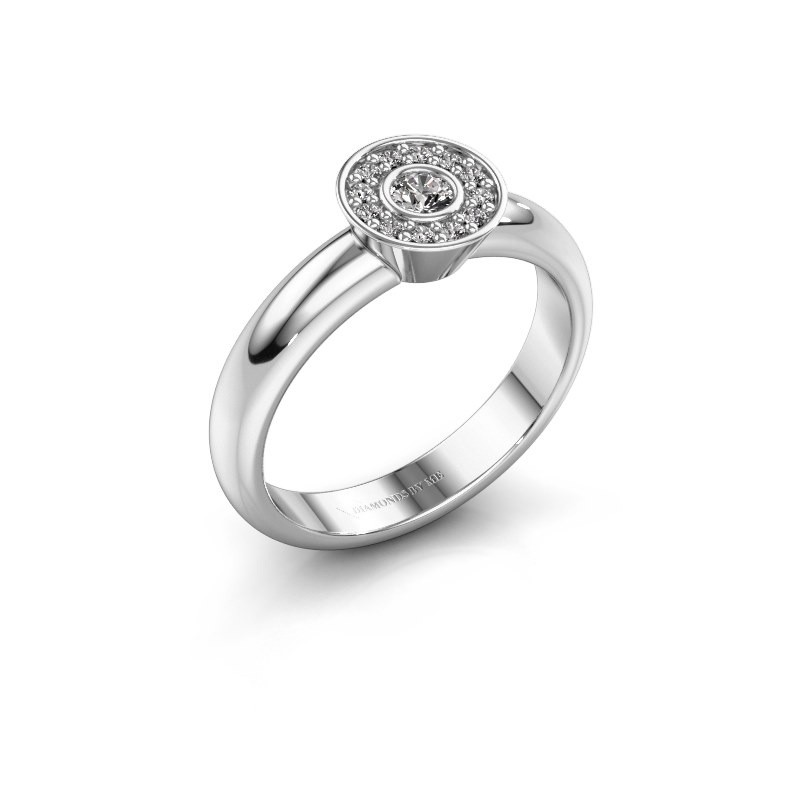 Bague Fiene 585 or blanc diamant synthétique 0.17 crt