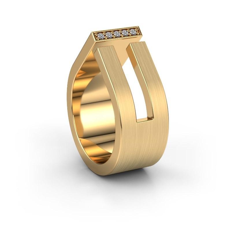 Huwelijksring WH2090L19C 375 goud diamant ±10x2.2 mm