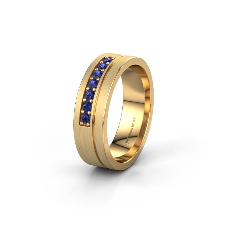 Trouwring WH0312L16AM 585 goud saffier ±6x1.7 mm