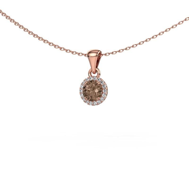 Hanger Seline rnd 375 rosé goud bruine diamant 0.48 crt