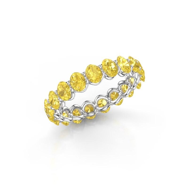 Ring Kirsten OVL 4x3 585 witgoud gele saffier 4x3 mm