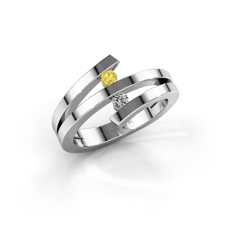 Ring Synthia 585 witgoud gele saffier 2.5 mm