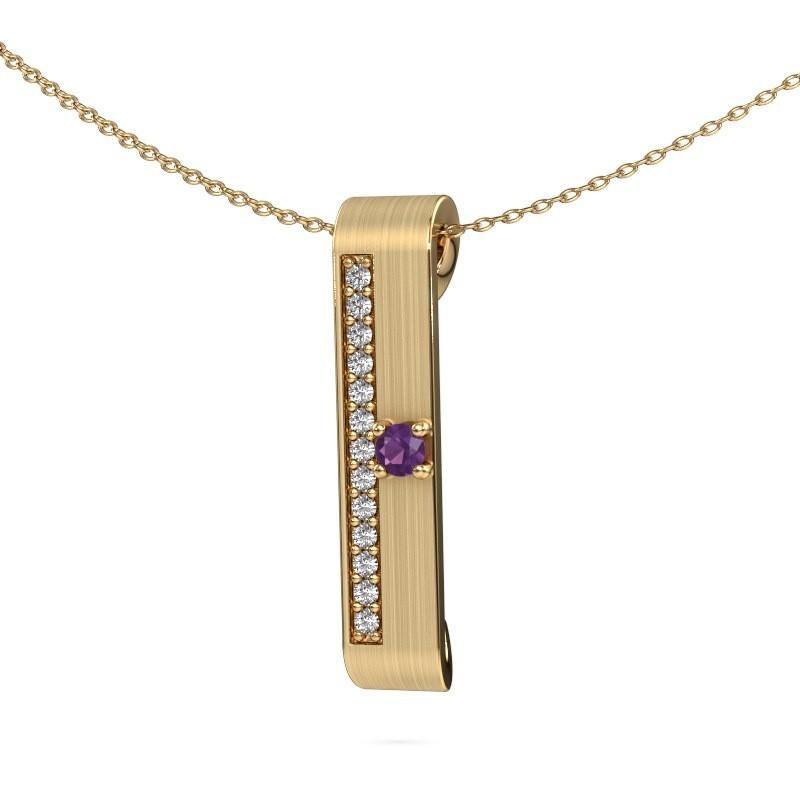 Halsketting Vicki 375 goud amethist 3 mm