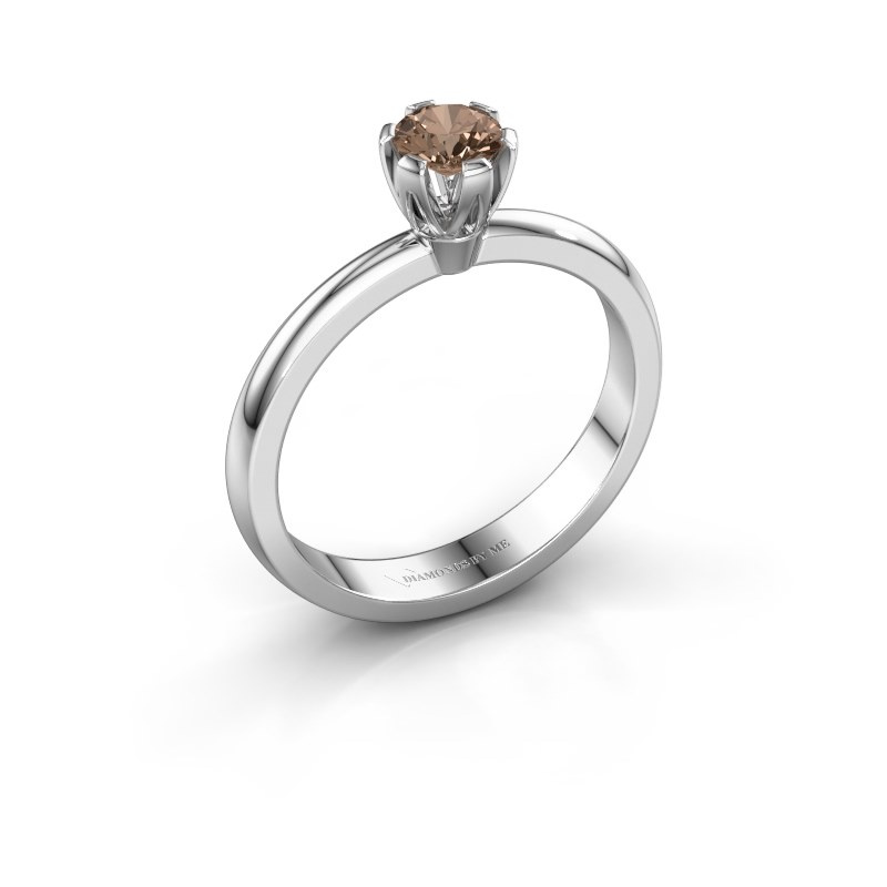 Verlovingsring Julia 585 witgoud bruine diamant 0.25 crt