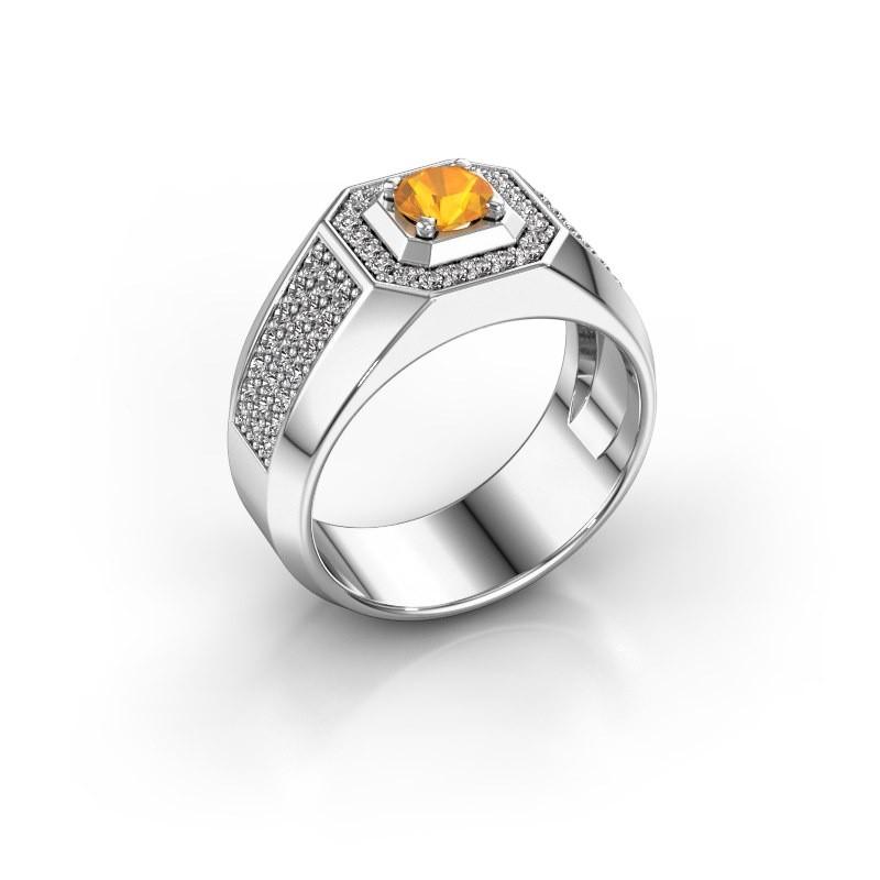 Heren ring Pavan 375 witgoud citrien 5 mm