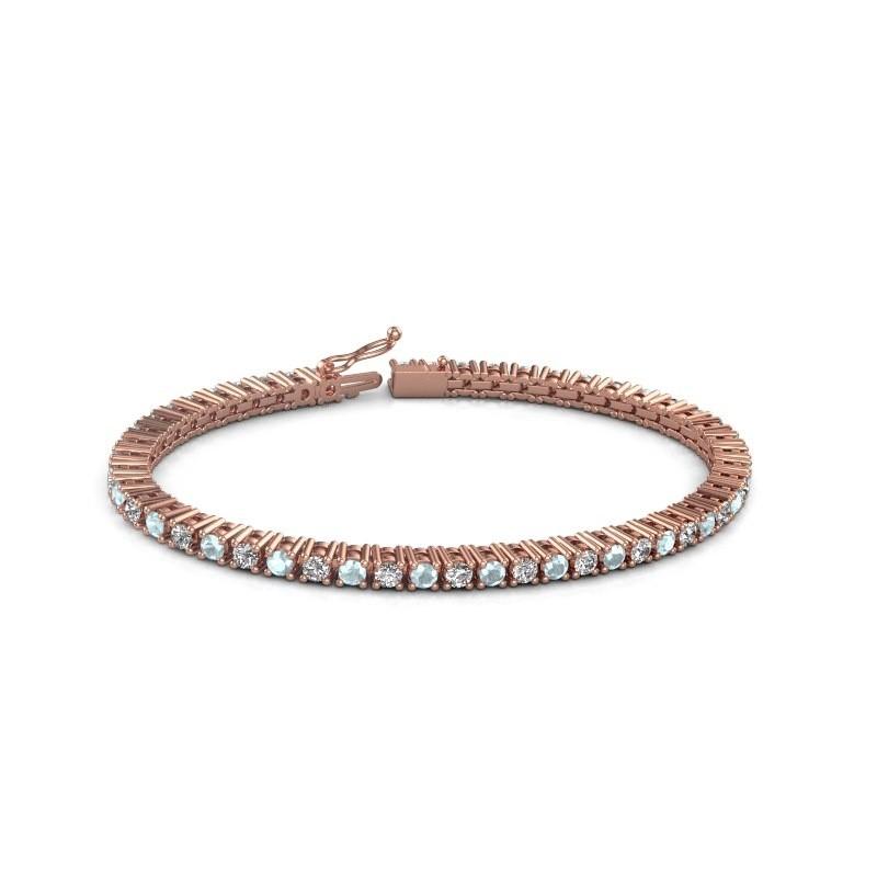 Tennis bracelet Petra 375 rose gold aquamarine 3 mm