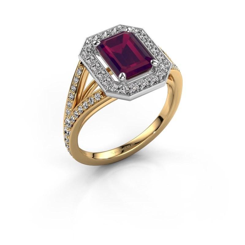 Promise ring Angelita EME 585 goud rhodoliet 8x6 mm