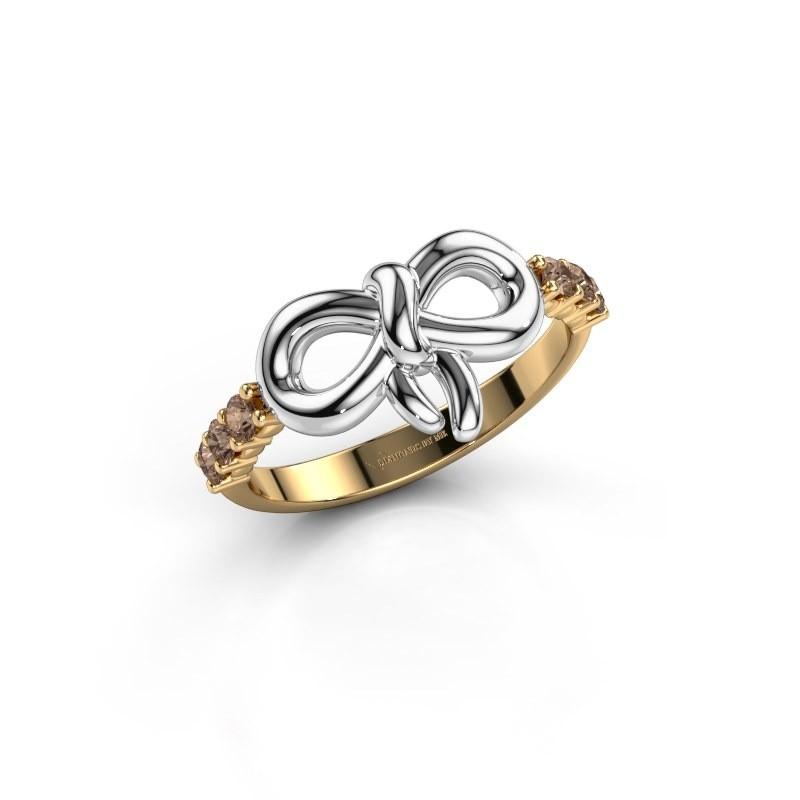 Ring Olympia 585 goud bruine diamant 0.27 crt