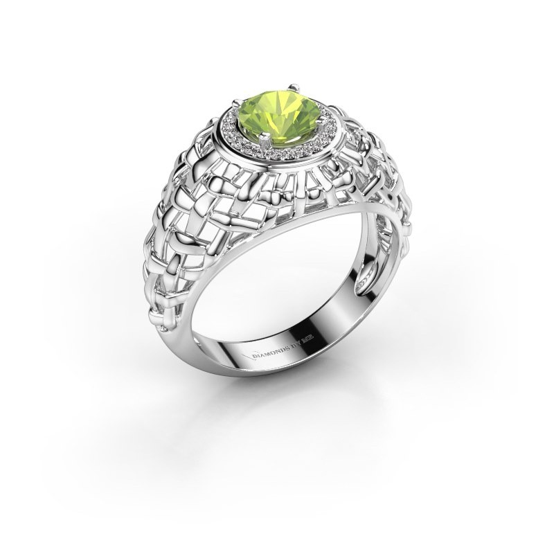 Pinky Ring Jens 950 Platin Peridot 6.5 mm