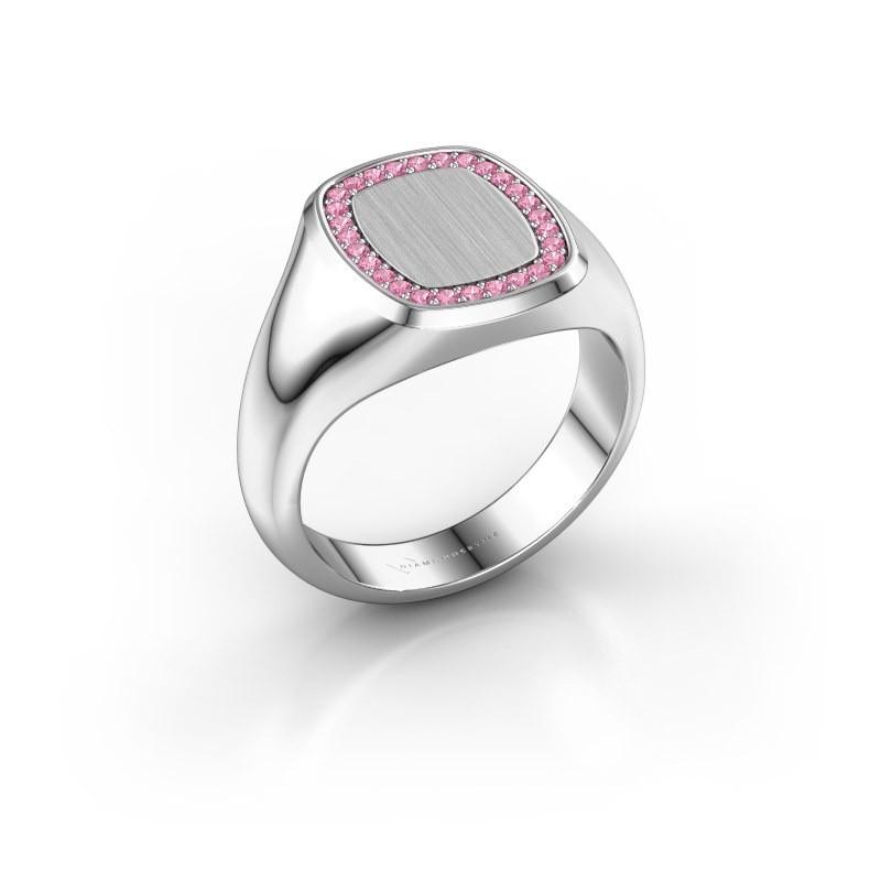 Men's ring Floris Cushion 2 375 white gold pink sapphire 1.2 mm