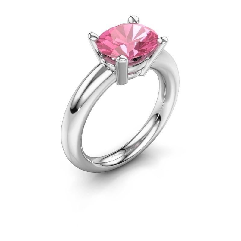 Ring Janiece 925 zilver roze saffier 10x8 mm