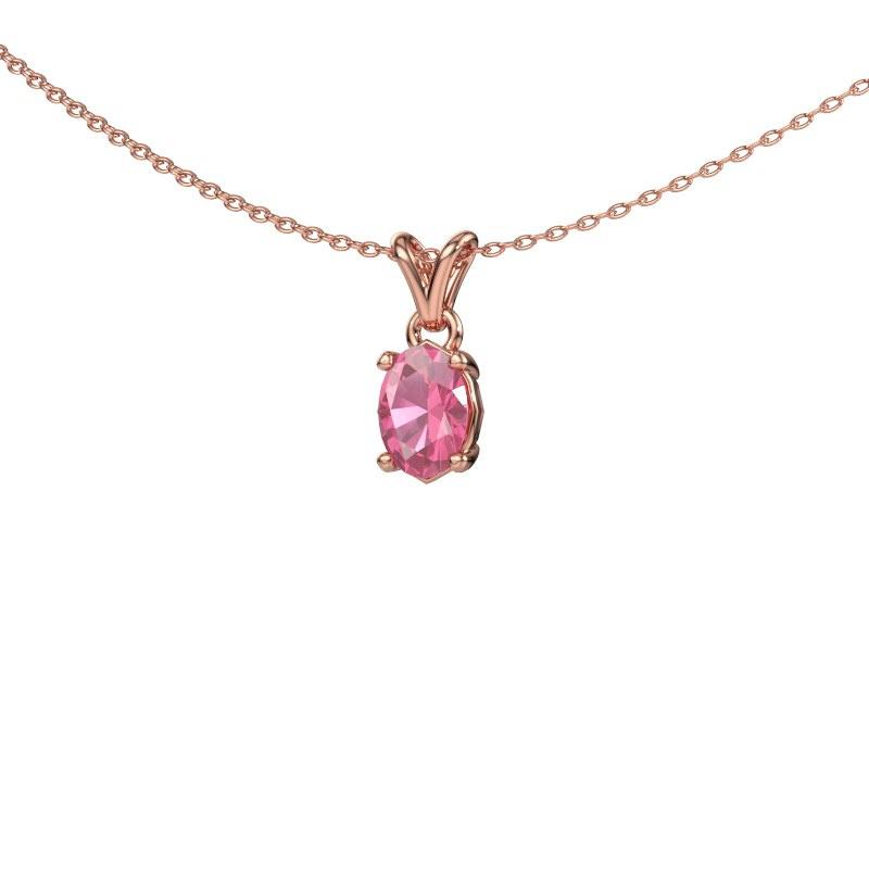 Ketting Lucy 1 585 rosé goud roze saffier 7x5 mm