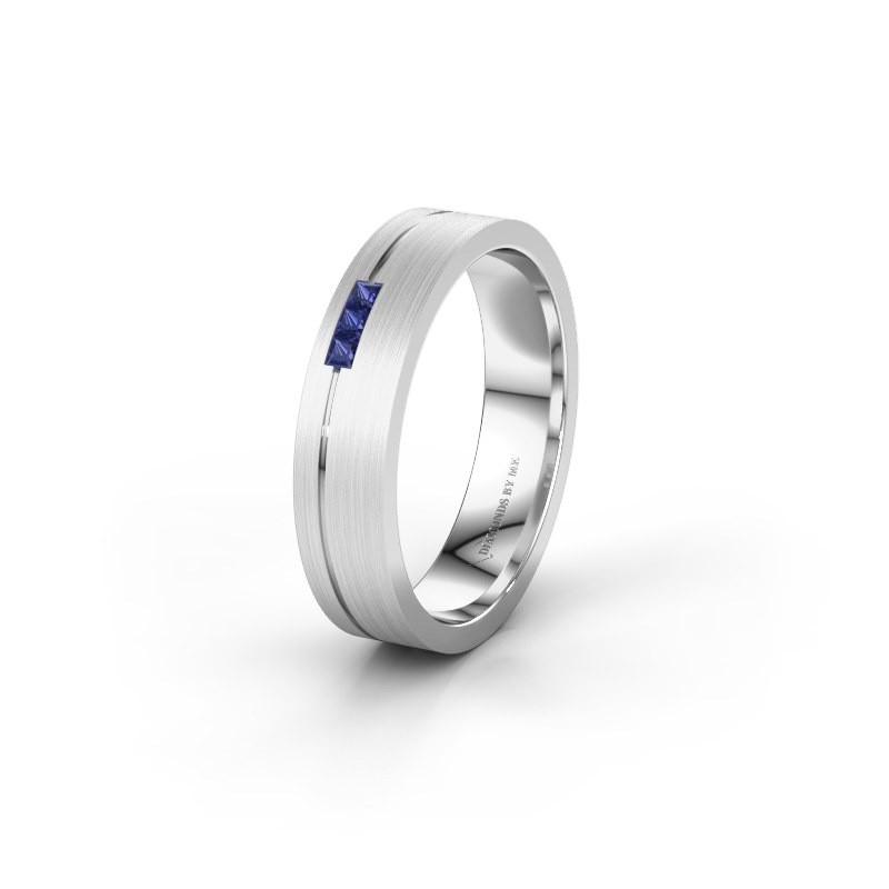 Wedding ring WH0158L14X 585 white gold sapphire ±4,5x1.4 mm