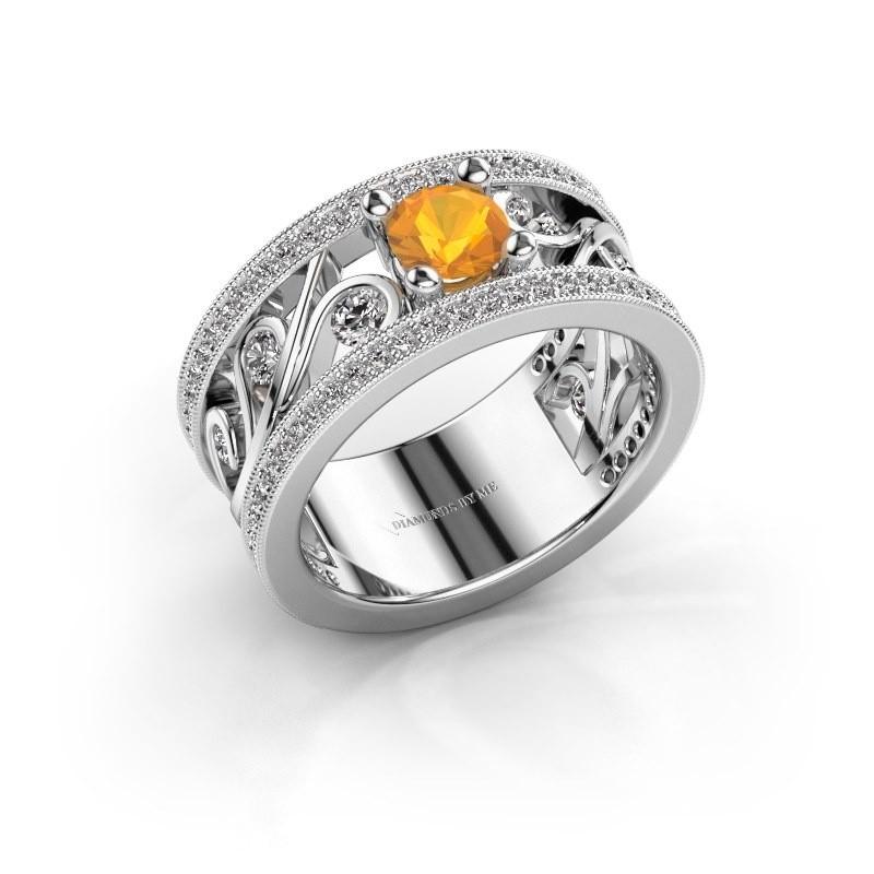 Ring Sanne 585 witgoud citrien 5 mm