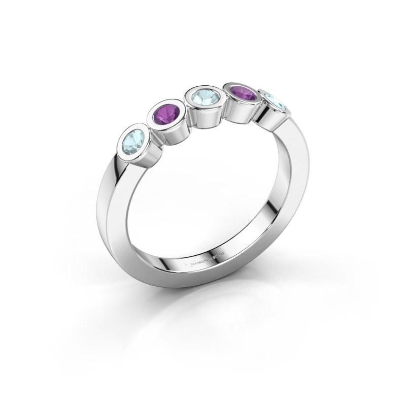 Ring Nova 585 white gold aquamarine 3 mm