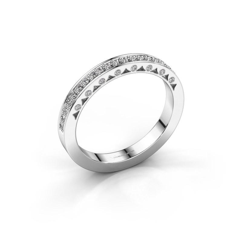 Ring Yasmine 585 witgoud zirkonia 1.2 mm