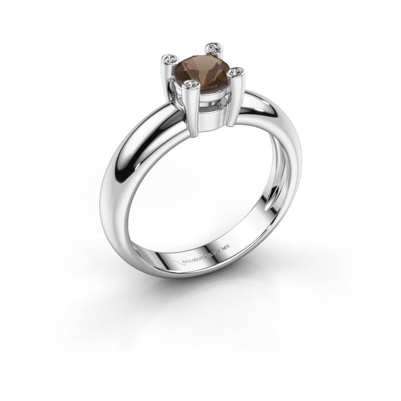 Ring Fleur 950 platina rookkwarts 4.7 mm