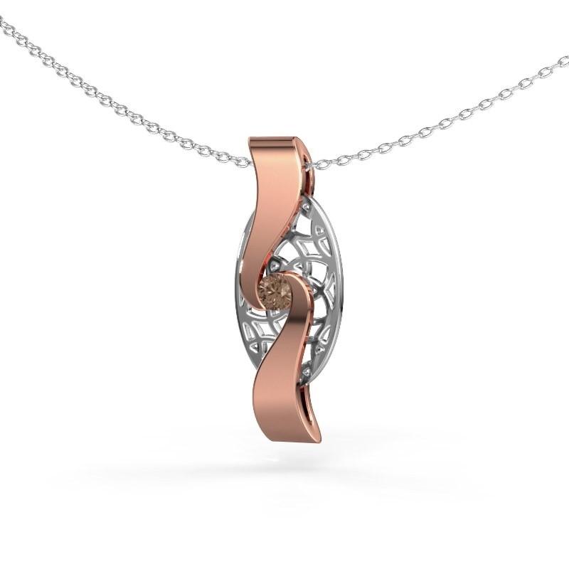 Pendentif Darleen 585 or rose diamant brun 0.10 crt