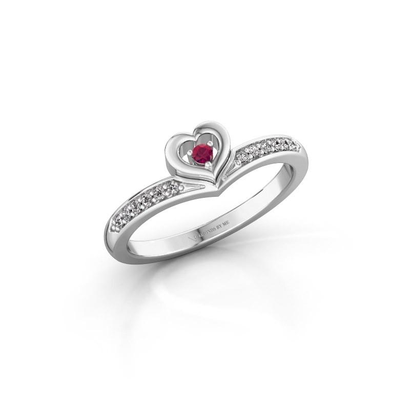 Ring Mimi 585 witgoud rhodoliet 2 mm