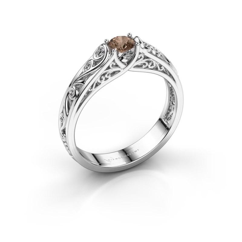 Ring Quinty 950 platina bruine diamant 0.335 crt