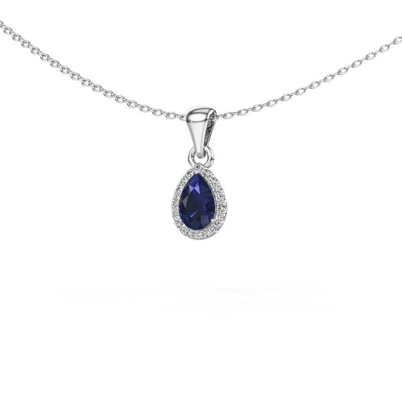 Halskette Seline per 950 Platin Saphir 6x4 mm