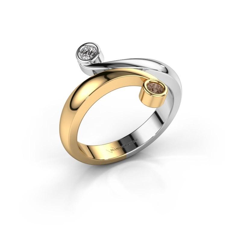 Ring Hilary 585 goud bruine diamant 0.12 crt