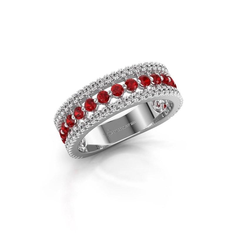 Bague de fiançailles Elizbeth 1 585 or blanc rubis 2 mm