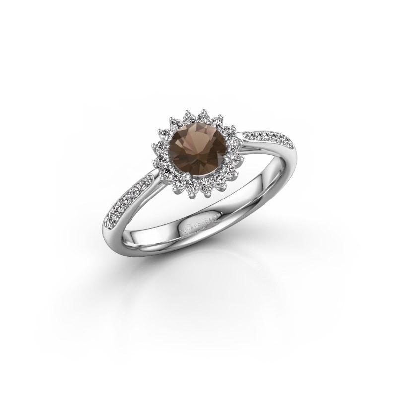 Engagement ring Tilly RND 2 585 white gold smokey quartz 5 mm
