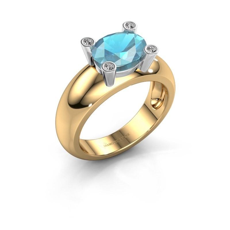 Ring Tamara OVL 585 goud blauw topaas 9x7 mm