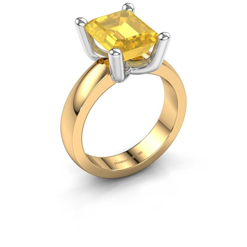 Bague Clelia EME 585 or jaune saphir jaune 10x8 mm