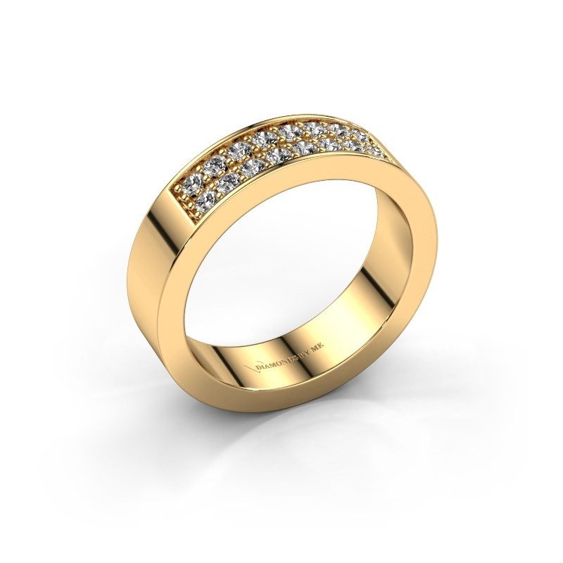 Stackable ring Catharina 5 375 gold diamond 0.32 crt
