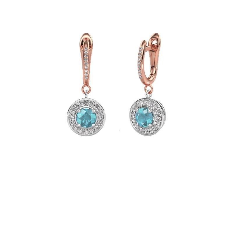 Drop earrings Ninette 2 585 white gold blue topaz 5 mm