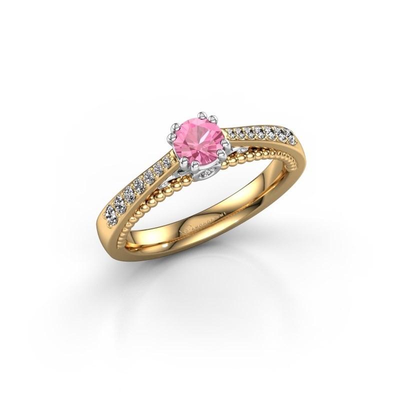 Verlovingsring Rozella 585 goud roze saffier 4.2 mm