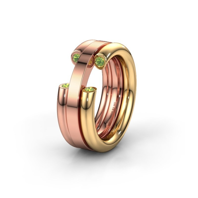 Wedding ring WH6018L 585 gold peridot ±0.31x0.12in