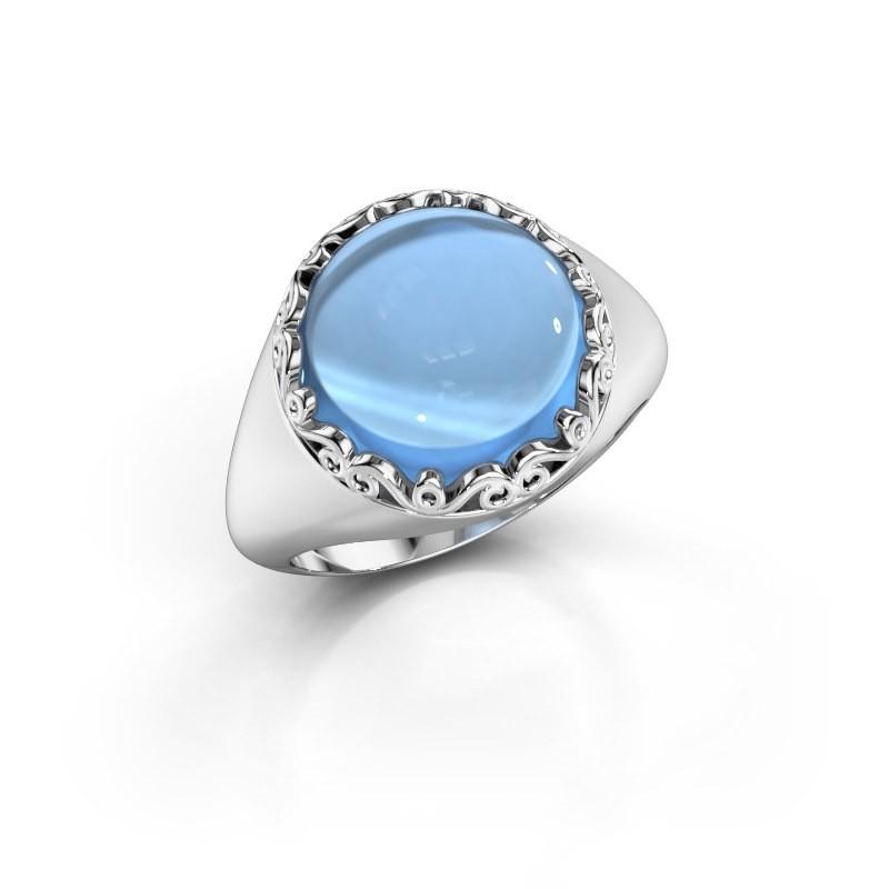 Ring Birgit 925 zilver blauw topaas 12 mm