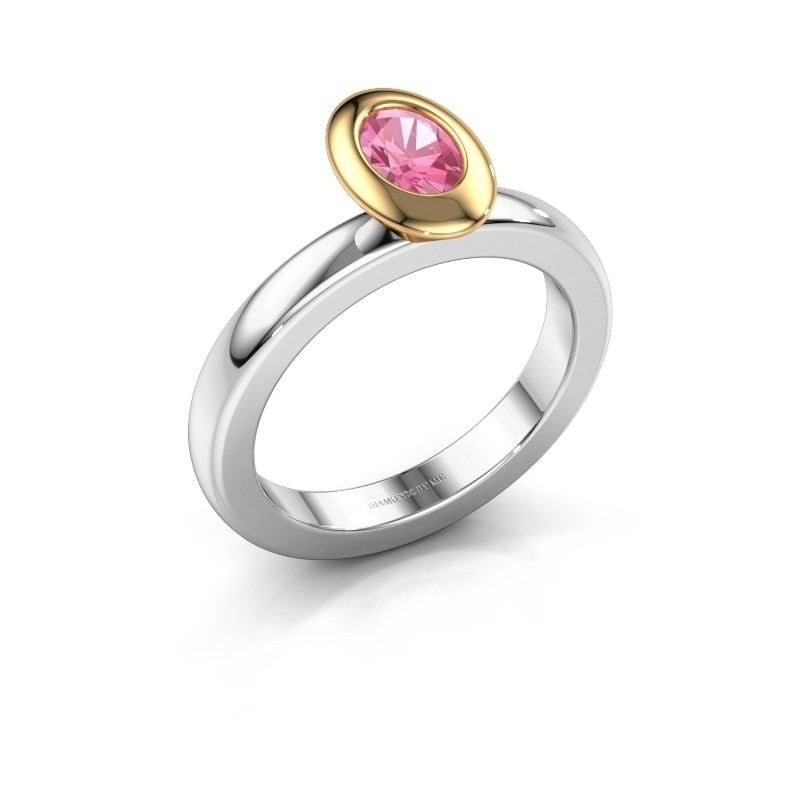 Stapelring Trudy Oval 585 witgoud roze saffier 6x4 mm
