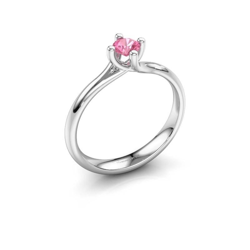 Engagement ring Dewi Round 585 white gold pink sapphire 4 mm